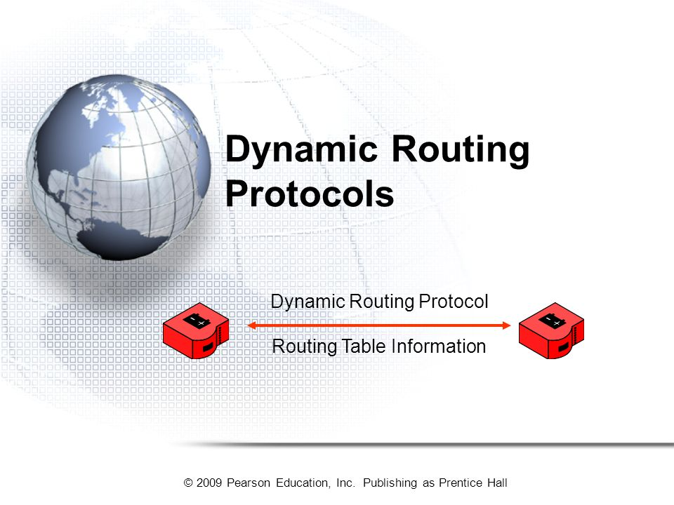 © 2009 Pearson Education, Inc. Publishing as Prentice Hall Dynamic Routing Protocols Routing Table Information Dynamic Routing Protocol