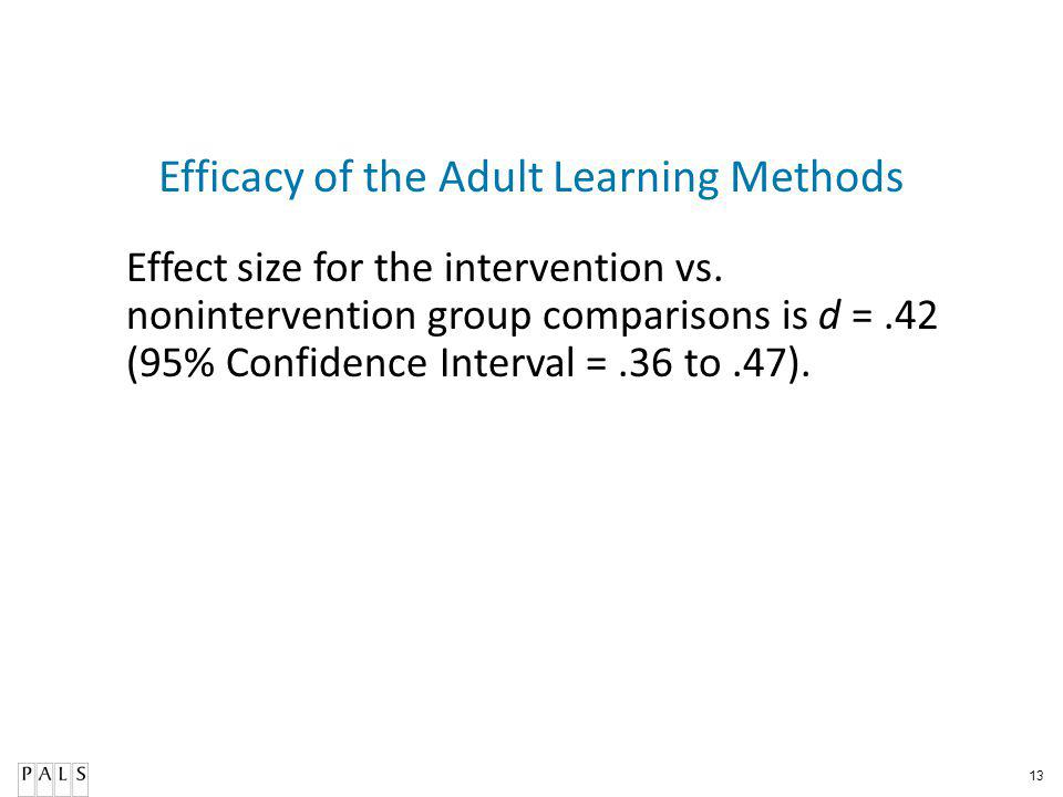 13 Efficacy of the Adult Learning Methods Effect size for the intervention vs.