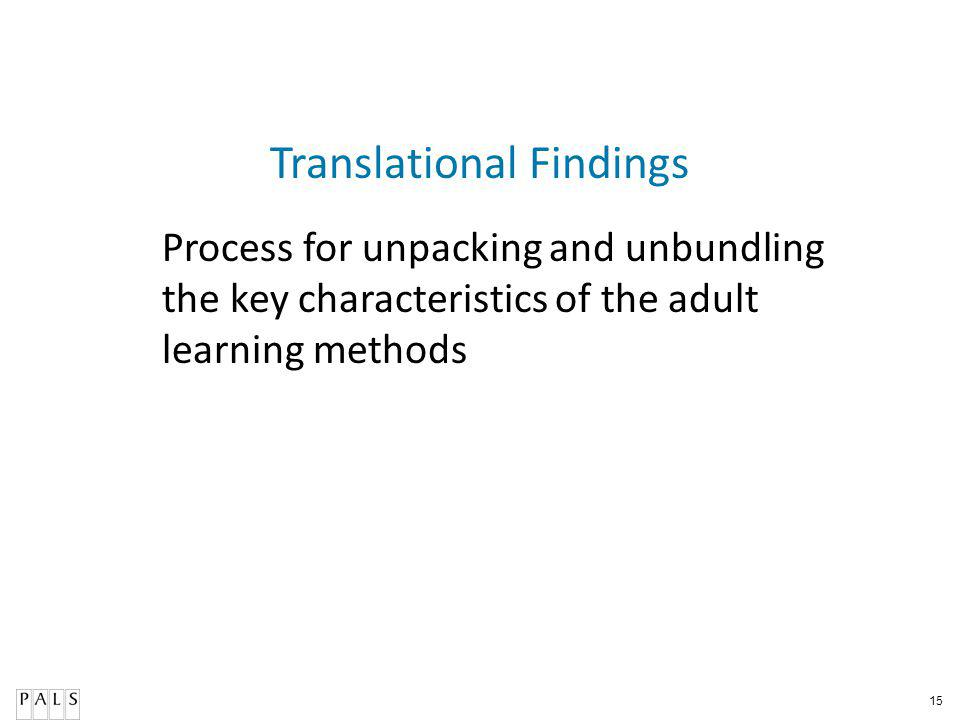 15 Translational Findings Process for unpacking and unbundling the key characteristics of the adult learning methods