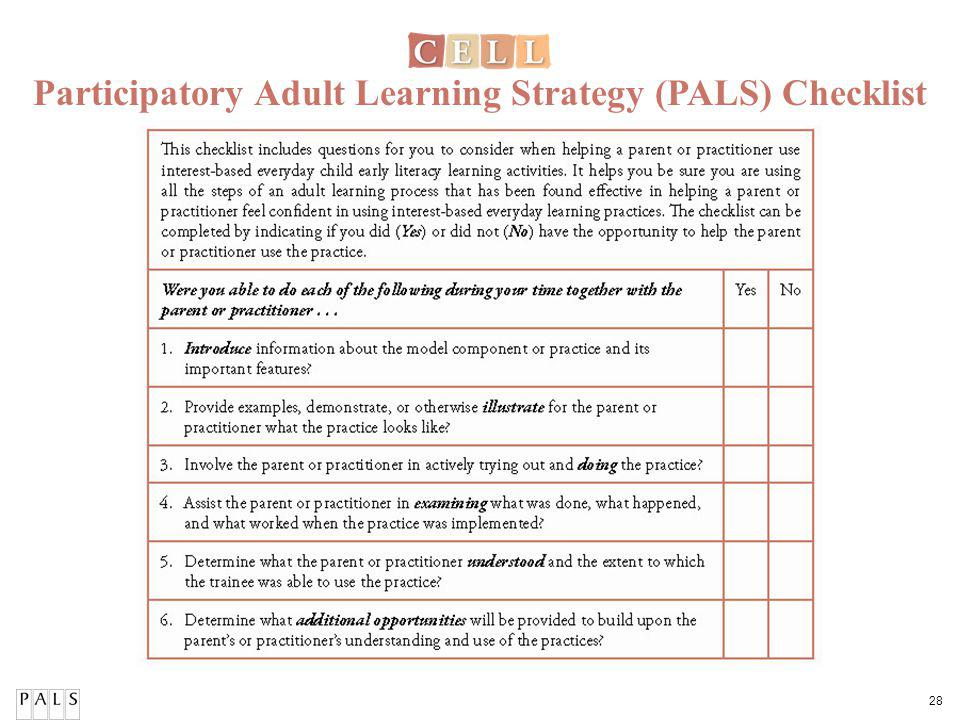 28 Participatory Adult Learning Strategy (PALS) Checklist
