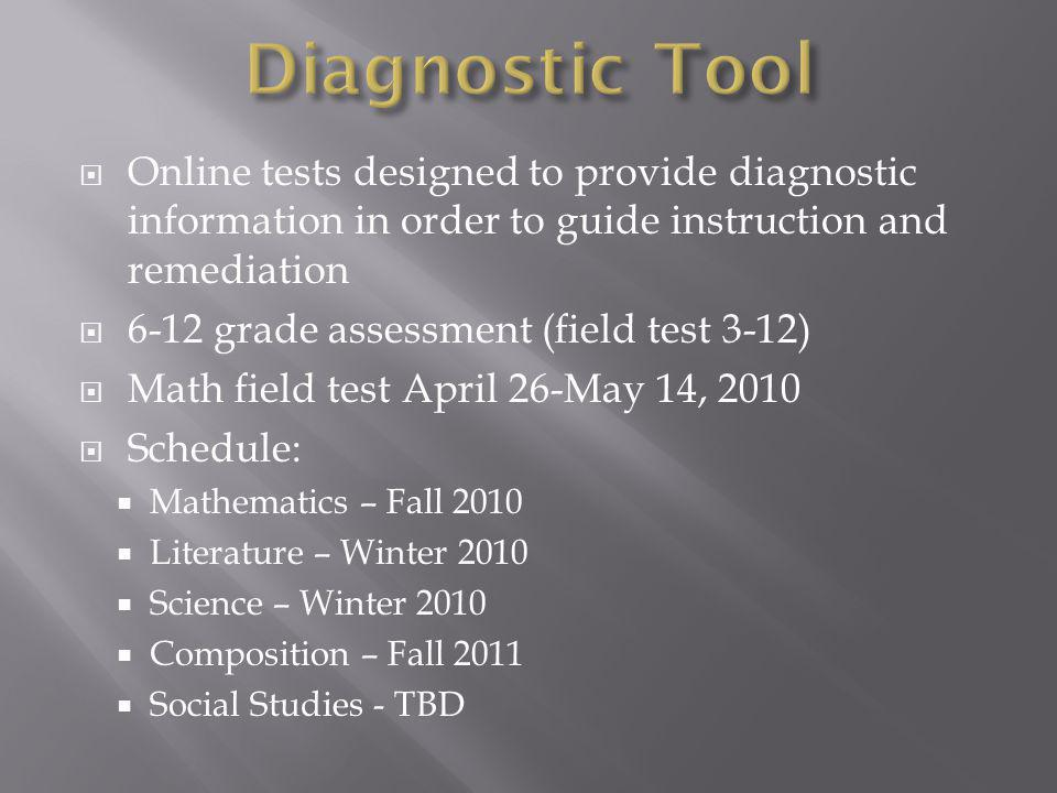 Online tests designed to provide diagnostic information in order to guide instruction and remediation 6-12 grade assessment (field test 3-12) Math field test April 26-May 14, 2010 Schedule: Mathematics – Fall 2010 Literature – Winter 2010 Science – Winter 2010 Composition – Fall 2011 Social Studies - TBD