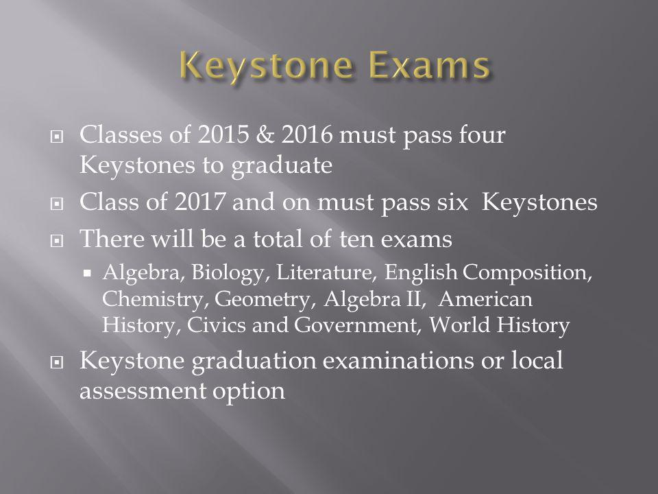 Classes of 2015 & 2016 must pass four Keystones to graduate Class of 2017 and on must pass six Keystones There will be a total of ten exams Algebra, Biology, Literature, English Composition, Chemistry, Geometry, Algebra II, American History, Civics and Government, World History Keystone graduation examinations or local assessment option