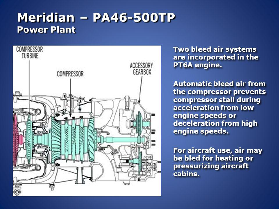 Meridian – PA46-500TP Power Plant The expanding hot gases are directed first through the Gas Generators forward compressor turbine, which provides the