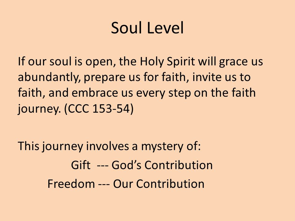 Soul Level If our soul is open, the Holy Spirit will grace us abundantly, prepare us for faith, invite us to faith, and embrace us every step on the faith journey.