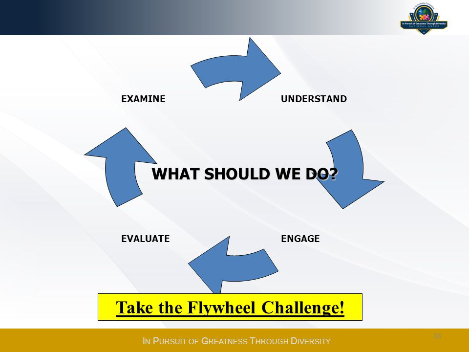 EXAMINE EVALUATE ENGAGE UNDERSTAND WHAT SHOULD WE DO? Take the Flywheel Challenge! I N P URSUIT OF G REATNESS T HROUGH D IVERSITY 16