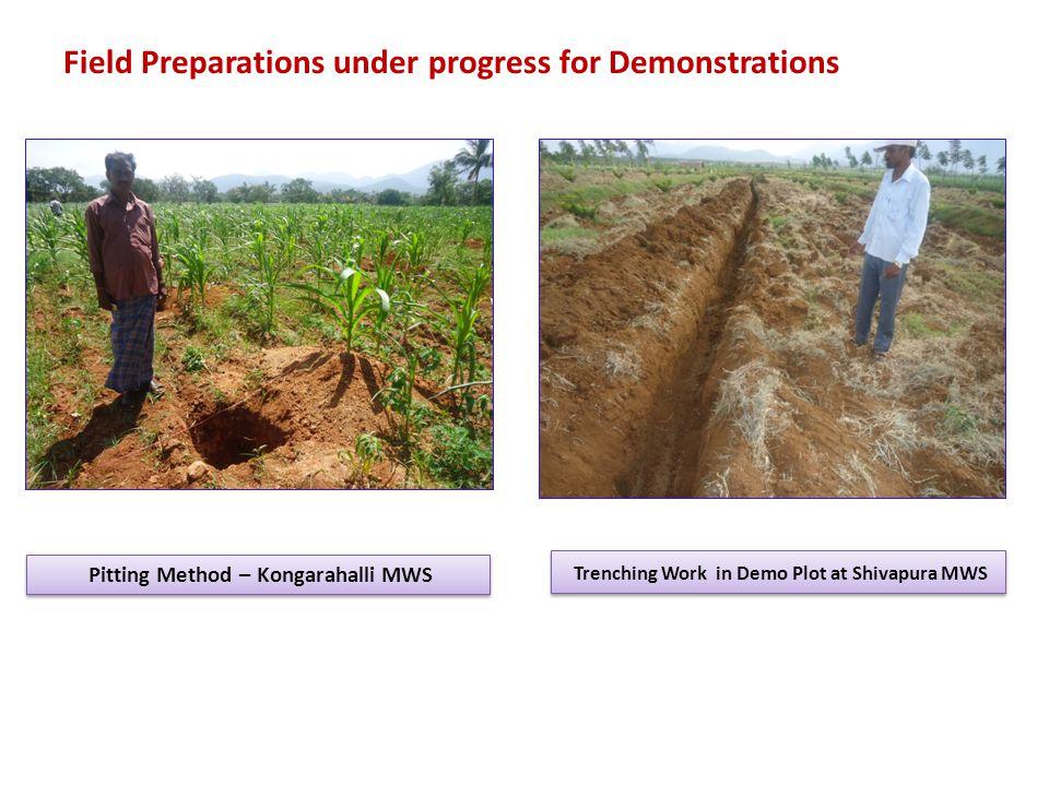 Trenching Work in Demo Plot at Shivapura MWS Pitting Method – Kongarahalli MWS Field Preparations under progress for Demonstrations