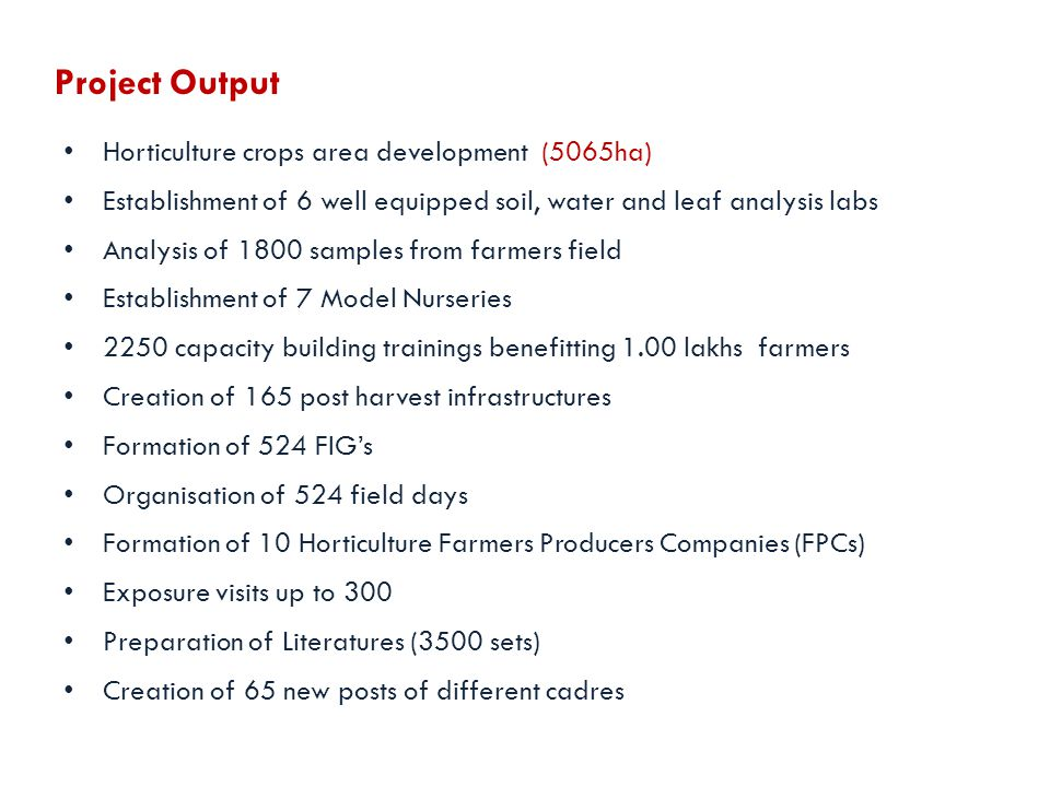 Horticulture crops area development (5065ha) Establishment of 6 well equipped soil, water and leaf analysis labs Analysis of 1800 samples from farmers