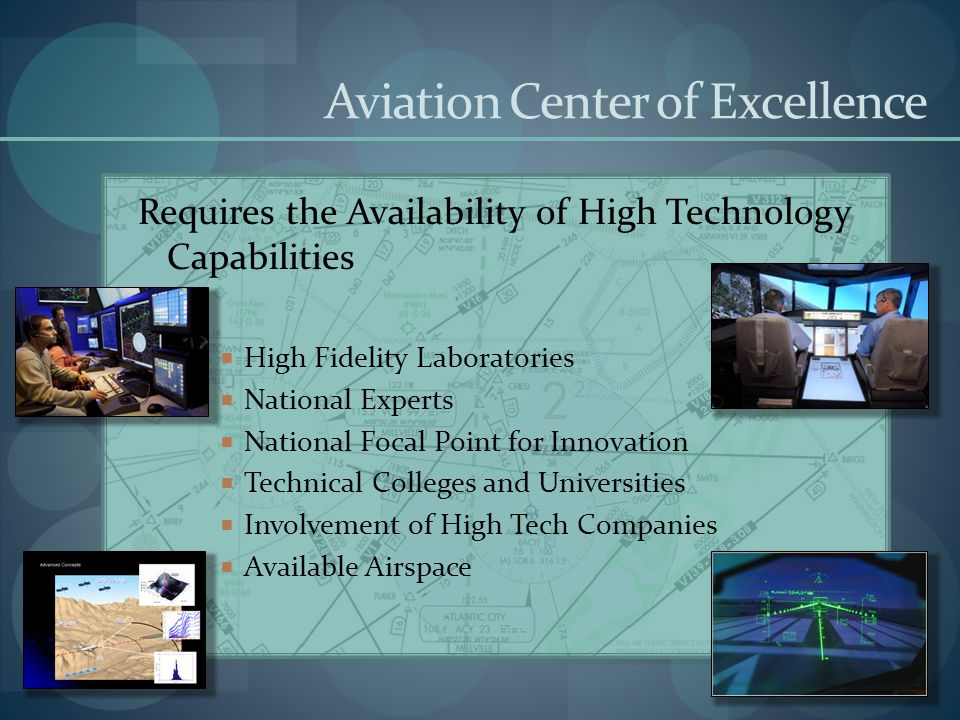 Aviation Center of Excellence Requires the Availability of High Technology Capabilities High Fidelity Laboratories National Experts National Focal Poi