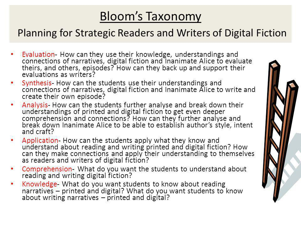 Blooms Taxonomy Planning for Strategic Readers and Writers of Digital Fiction Evaluation- How can they use their knowledge, understandings and connections of narratives, digital fiction and Inanimate Alice to evaluate theirs, and others, episodes.