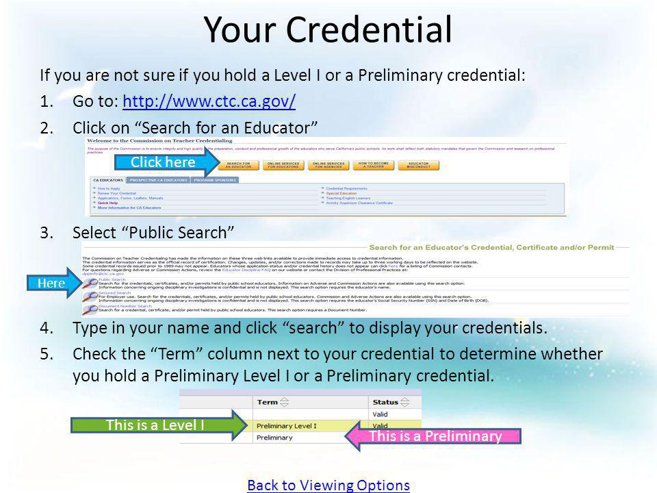 Your Credential If you are not sure if you hold a Level I or a Preliminary credential: 1.Go to: http://www.ctc.ca.gov/http://www.ctc.ca.gov/ 2.Click o
