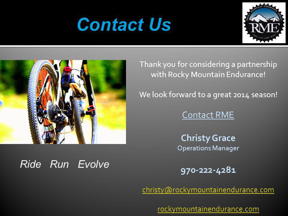 Thank you for considering a partnership with Rocky Mountain Endurance.