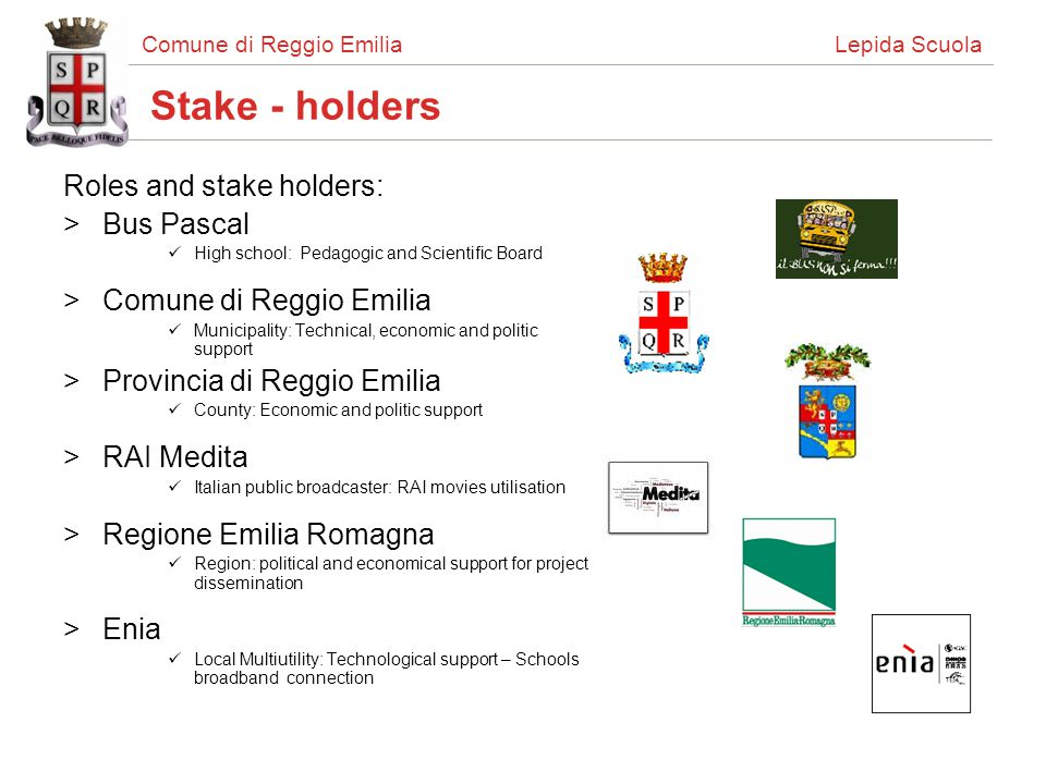Comune di Reggio Emilia Lepida Scuola Stake - holders Roles and stake holders: >Bus Pascal High school: Pedagogic and Scientific Board >Comune di Regg