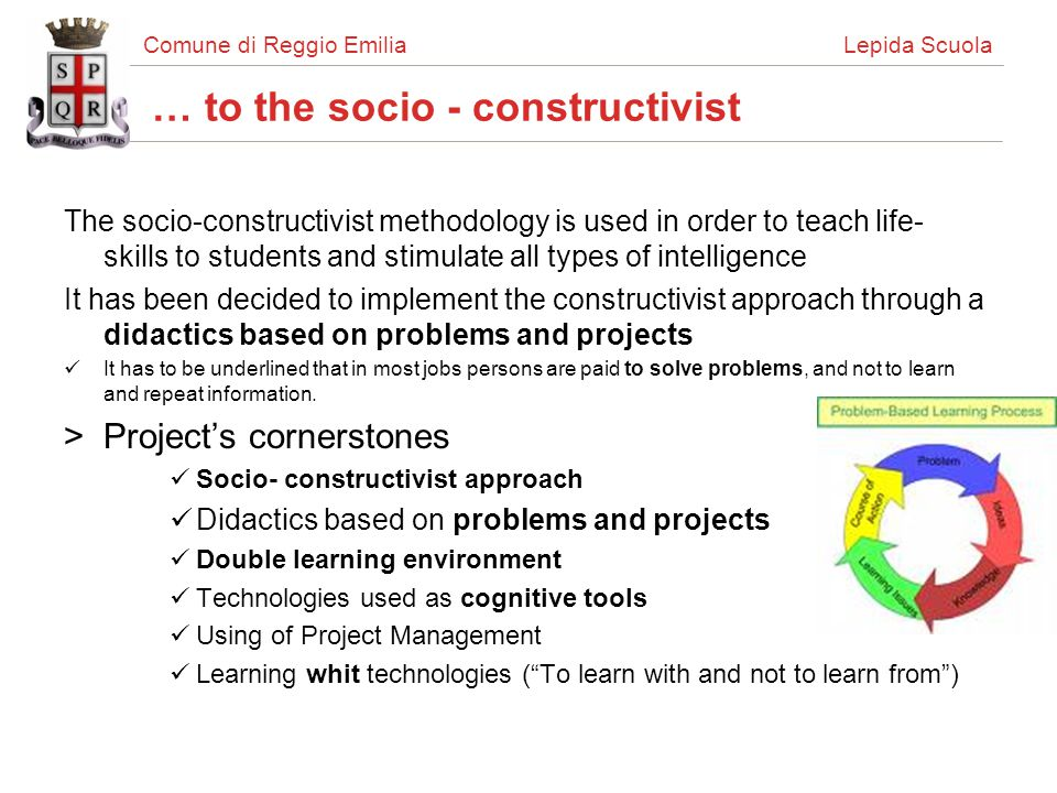 Comune di Reggio Emilia Lepida Scuola Socio-constructivism in classrooms For teachers, introducing a new methodology in teaching is not easy: >How to learn the new methodology.