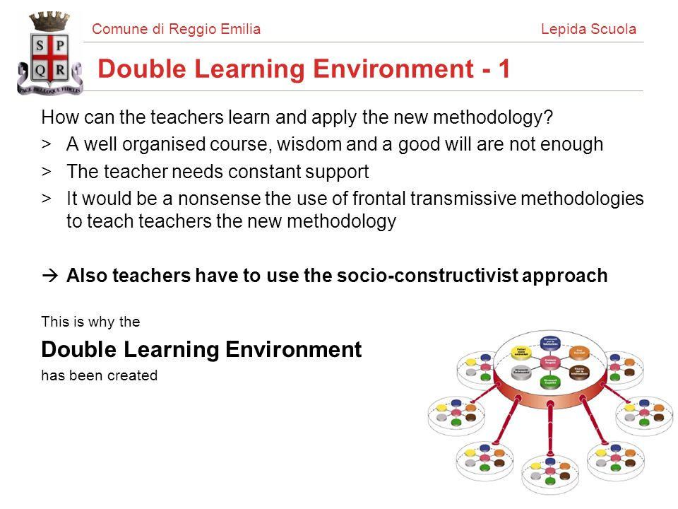 Comune di Reggio Emilia Lepida Scuola Double Learning Environment - 1 How can the teachers learn and apply the new methodology? >A well organised cour