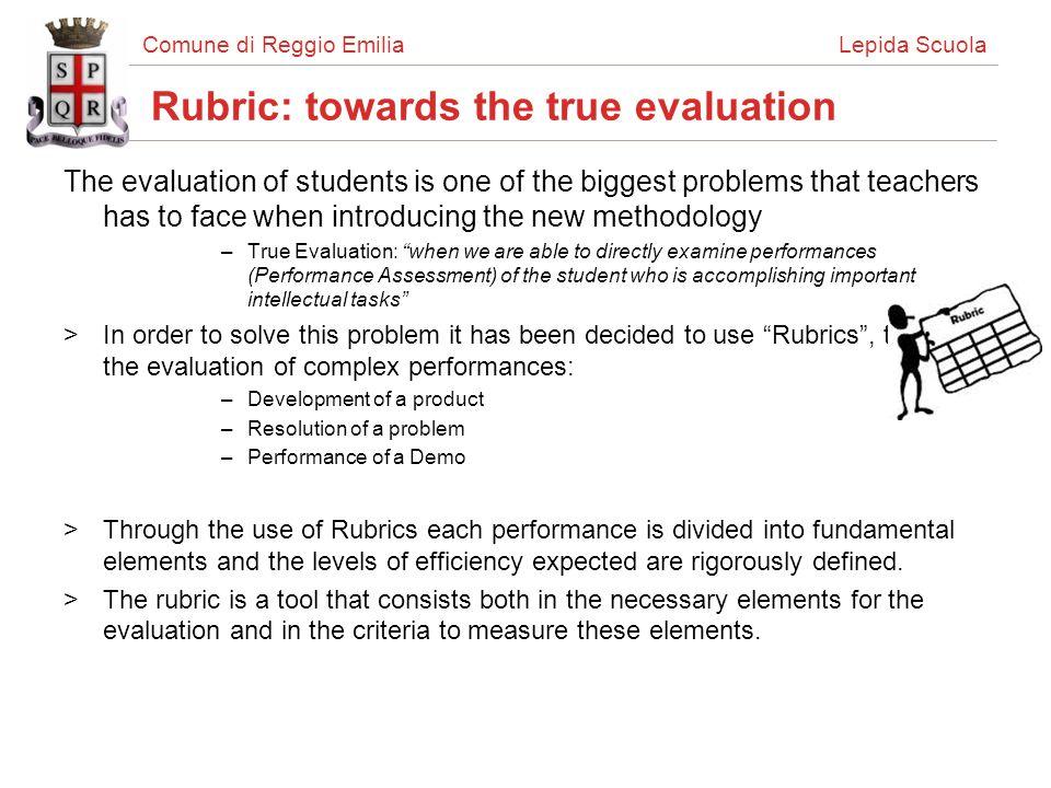 Comune di Reggio Emilia Lepida Scuola Rubric Rubrics structure and a rubric example