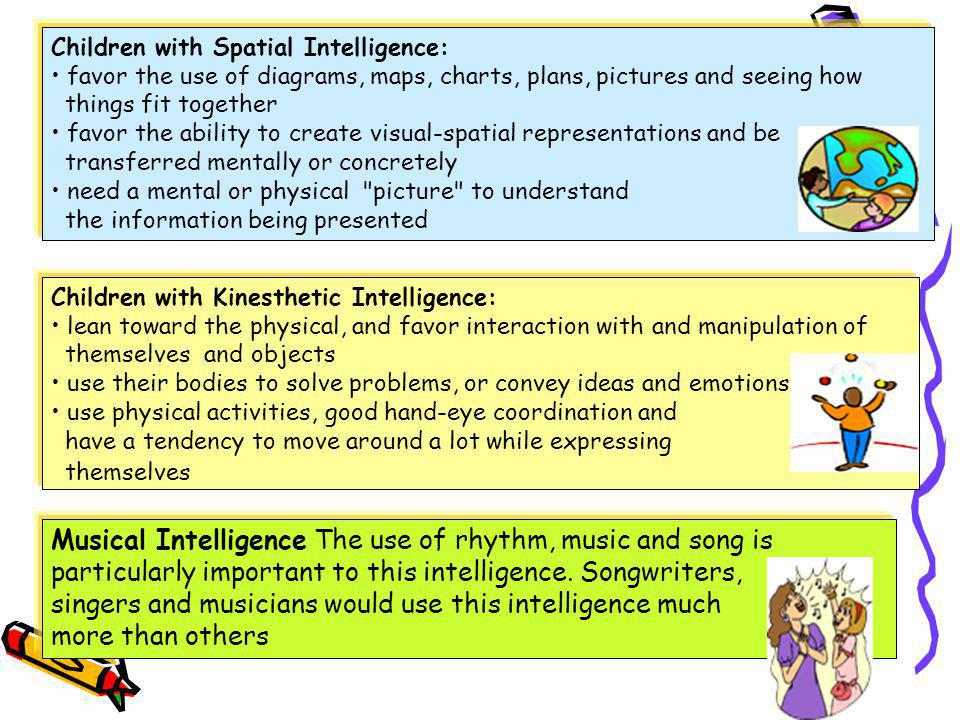 Multiple Intelligences Children with Linguistic Intelligence: favor reading, as well as the creative use of words (such as doing crossword puzzles) en