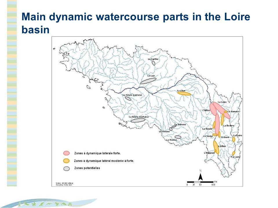 Main dynamic watercourse parts in the Loire basin
