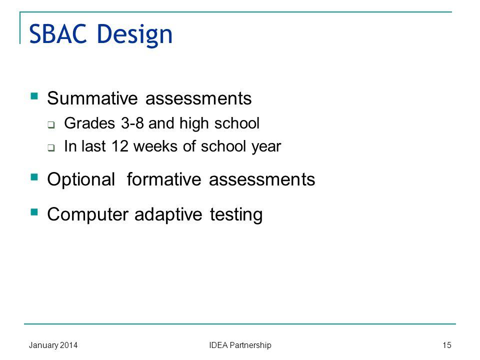 SBAC States vvvjhhhhhhh Smarter Balanced Assessment Consortium January 201414 IDEA Partnership