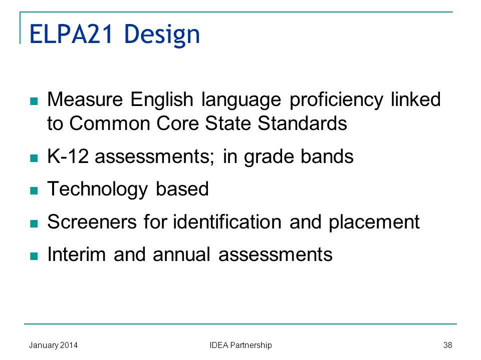 ELPA21 States xxxxxxxxxxx English Language Proficiency Assessment for the 21st Century Consortium (ELPA21) January 2014 IDEA Partnership 37 AR FL IA K