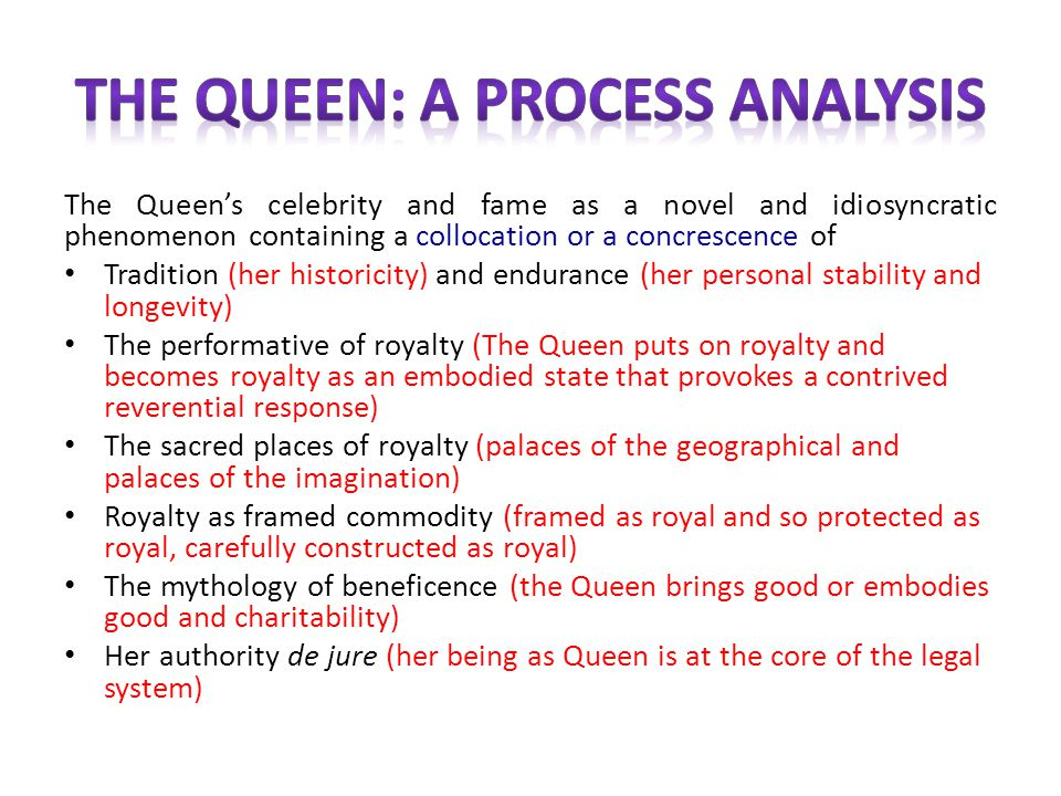 The Queens celebrity and fame as a novel and idiosyncratic phenomenon containing a collocation or a concrescence of Tradition (her historicity) and en