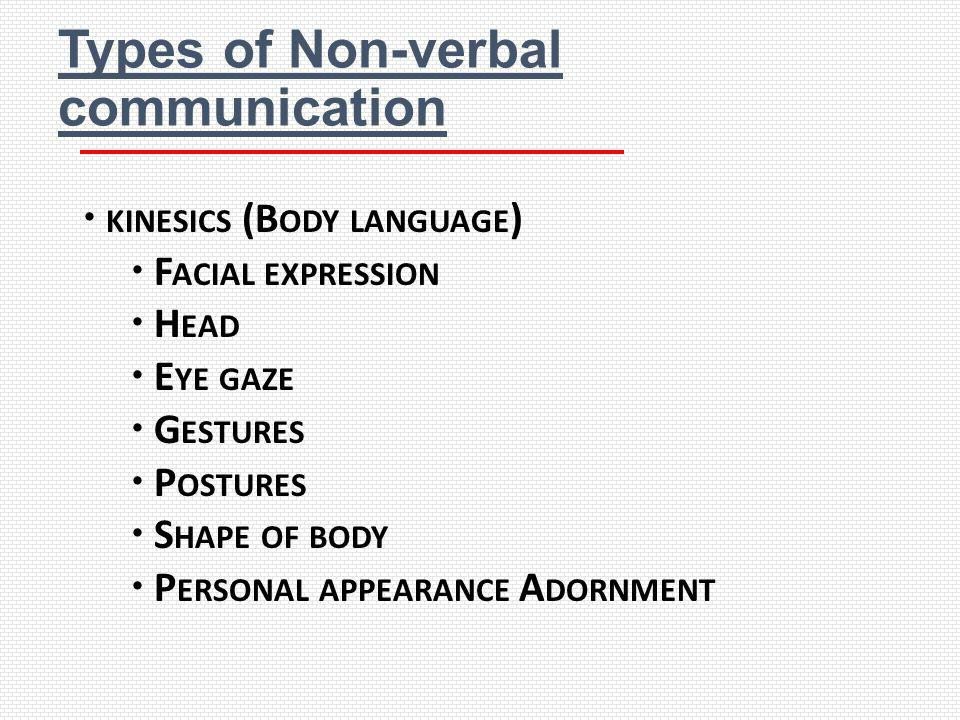 Types of Non-verbal communication KINESICS (B ODY LANGUAGE ) F ACIAL EXPRESSION H EAD E YE GAZE G ESTURES P OSTURES S HAPE OF BODY P ERSONAL APPEARANC