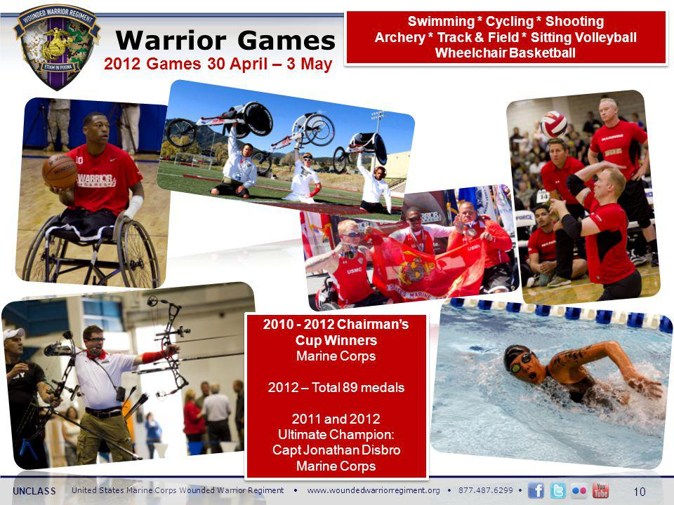 United States Marine Corps Wounded Warrior Regiment www.woundedwarriorregiment.org 877.487.6299 UNCLASS 2012 Games 30 April – 3 May Warrior Games 10 S