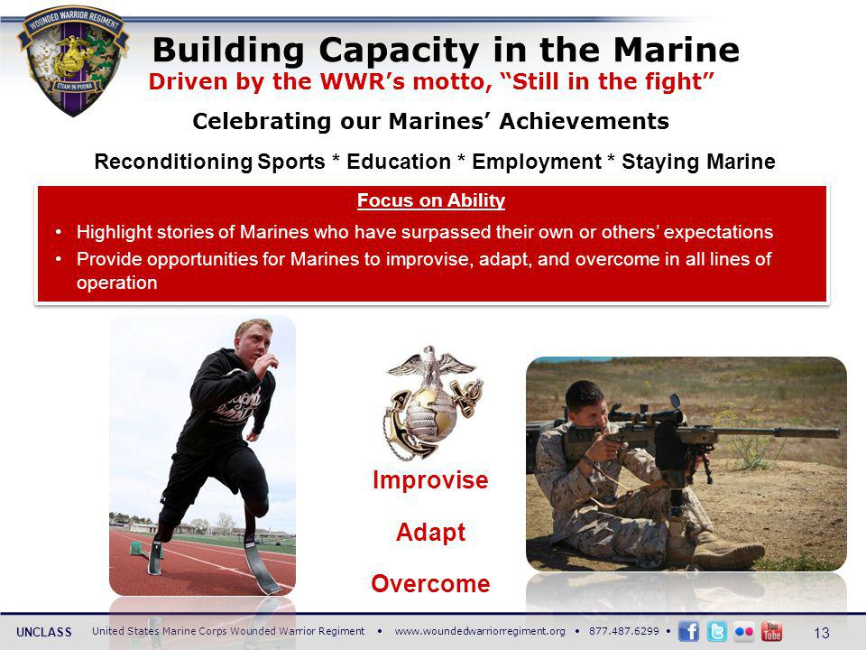 United States Marine Corps Wounded Warrior Regiment www.woundedwarriorregiment.org 877.487.6299 UNCLASS Driven by the WWRs motto, Still in the fight Celebrating our Marines Achievements Reconditioning Sports * Education * Employment * Staying Marine Building Capacity in the Marine Focus on Ability Highlight stories of Marines who have surpassed their own or others expectations Provide opportunities for Marines to improvise, adapt, and overcome in all lines of operation Focus on Ability Highlight stories of Marines who have surpassed their own or others expectations Provide opportunities for Marines to improvise, adapt, and overcome in all lines of operation Improvise Adapt Overcome 13
