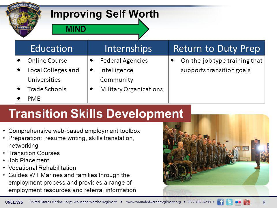 United States Marine Corps Wounded Warrior Regiment www.woundedwarriorregiment.org 877.487.6299 UNCLASS Improving Self Worth MIND EducationInternshipsReturn to Duty Prep Online Course Local Colleges and Universities Trade Schools PME Federal Agencies Intelligence Community Military Organizations On-the-job type training that supports transition goals Transition Skills Development Comprehensive web-based employment toolbox Preparation: resume writing, skills translation, networking Transition Courses Job Placement Vocational Rehabilitation Guides WII Marines and families through the employment process and provides a range of employment resources and referral information 8