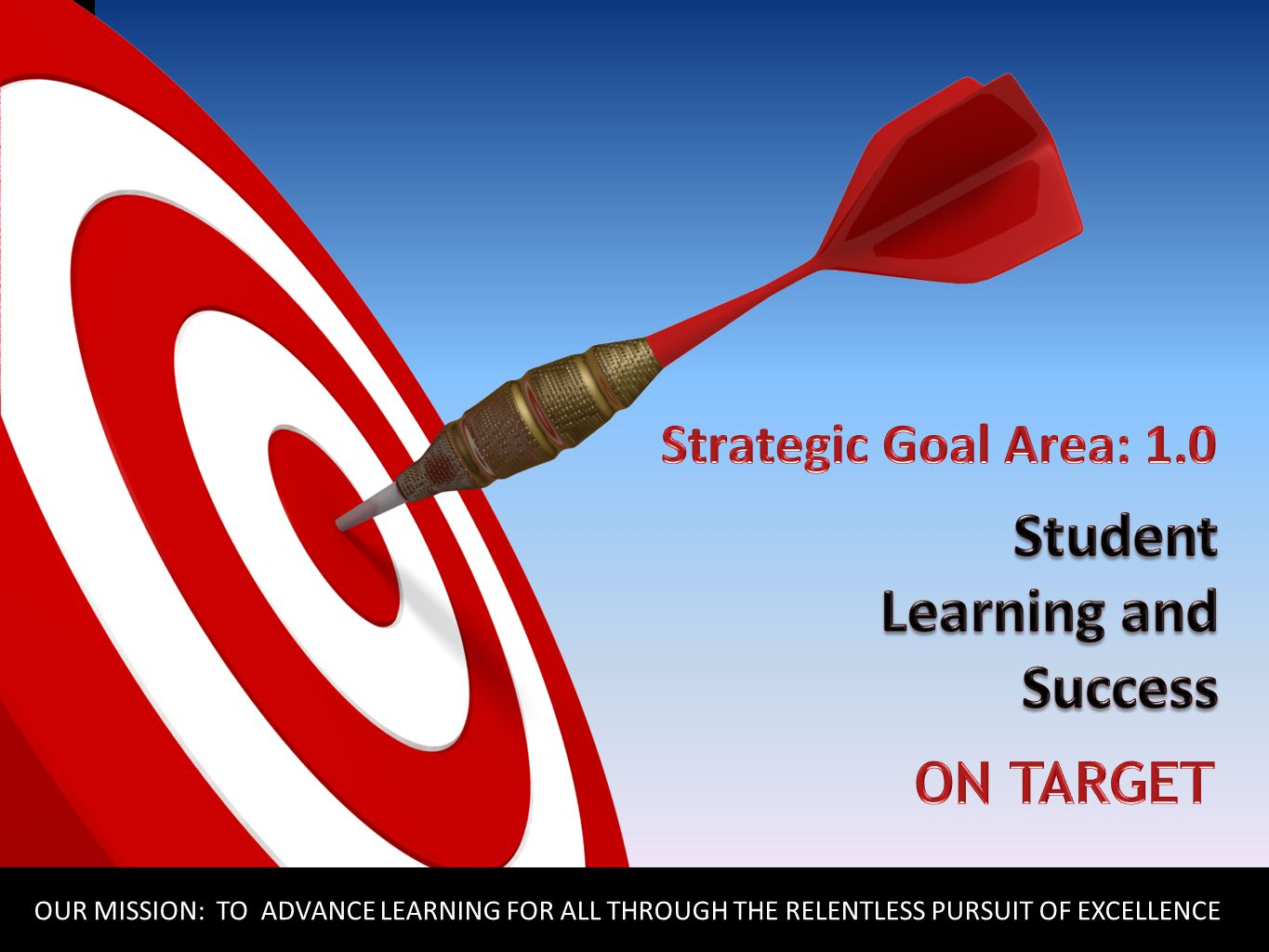 ON TARGET OUR MISSION: TO ADVANCE LEARNING FOR ALL THROUGH THE RELENTLESS PURSUIT OF EXCELLENCE