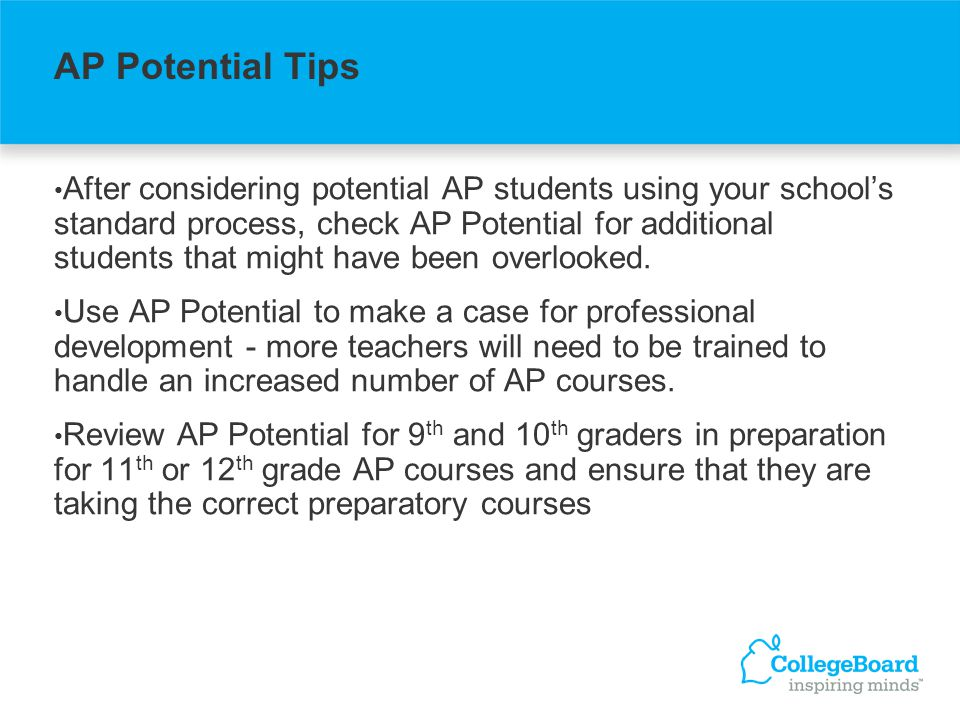 After considering potential AP students using your schools standard process, check AP Potential for additional students that might have been overlooked.
