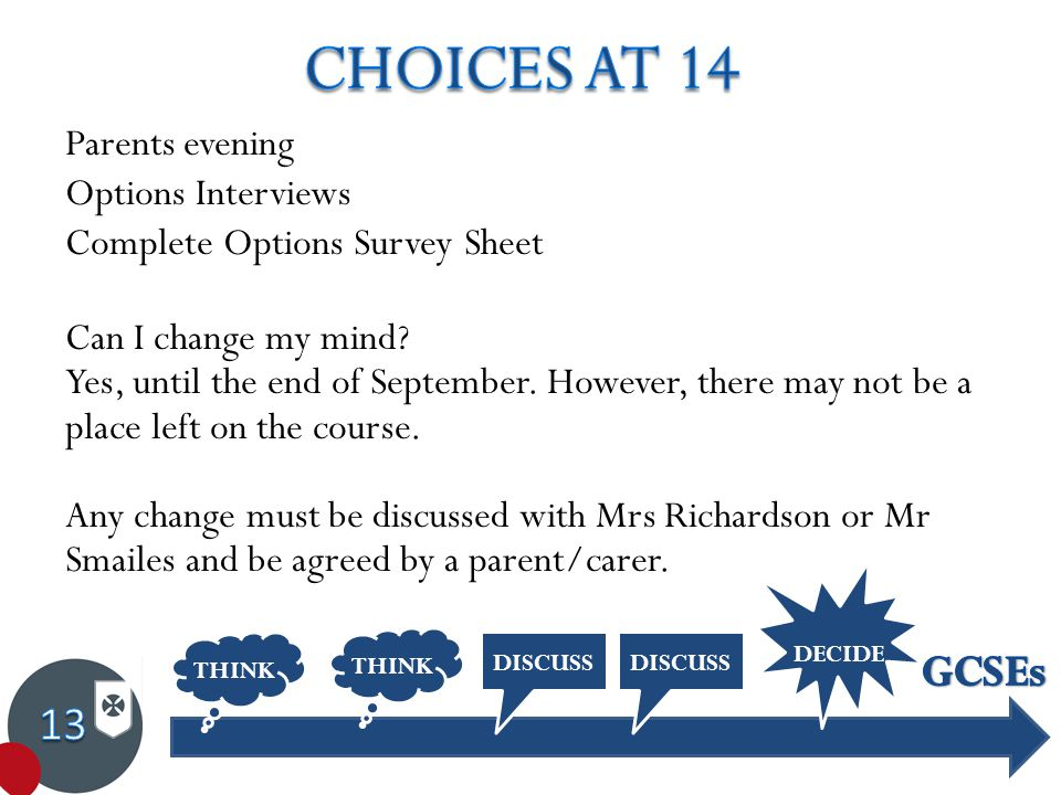 Parents evening Options Interviews Complete Options Survey Sheet Can I change my mind.