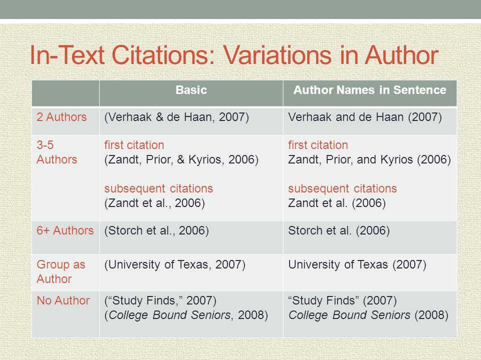 In-Text Citations: Variations in Author BasicAuthor Names in Sentence 2 Authors(Verhaak & de Haan, 2007)Verhaak and de Haan (2007) 3-5 Authors first citation (Zandt, Prior, & Kyrios, 2006) subsequent citations (Zandt et al., 2006) first citation Zandt, Prior, and Kyrios (2006) subsequent citations Zandt et al.
