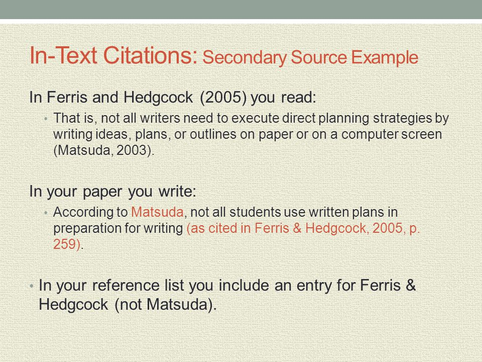 In-Text Citations: Secondary Source Example In Ferris and Hedgcock (2005) you read: That is, not all writers need to execute direct planning strategie