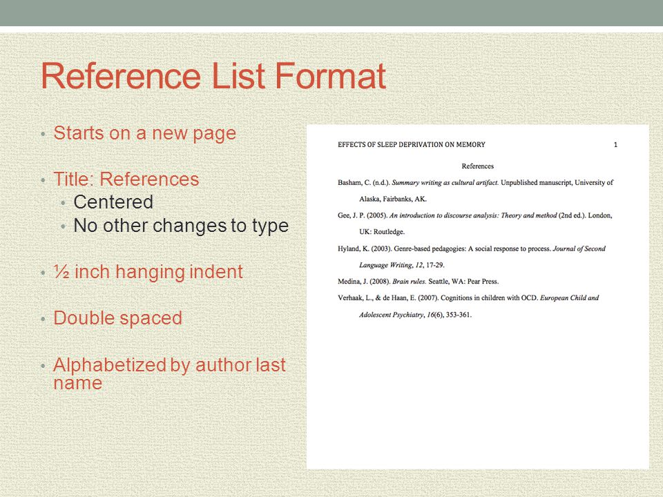 Reference List Format Starts on a new page Title: References Centered No other changes to type ½ inch hanging indent Double spaced Alphabetized by aut
