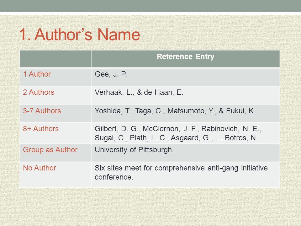1. Authors Name Reference Entry 1 AuthorGee, J. P. 2 AuthorsVerhaak, L., & de Haan, E. 3-7 AuthorsYoshida, T., Taga, C., Matsumoto, Y., & Fukui, K. 8+