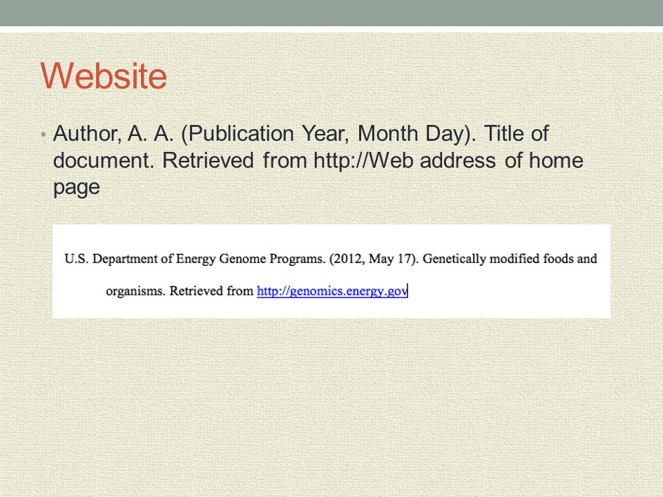 Website Author, A. A. (Publication Year, Month Day). Title of document. Retrieved from http://Web address of home page