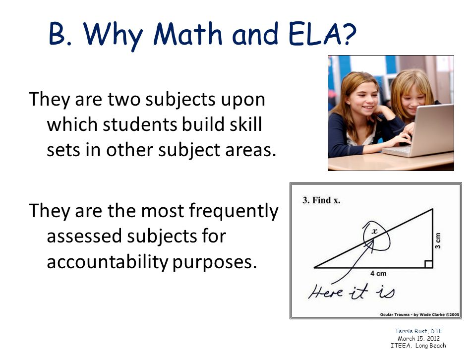B. Why Math and ELA? They are two subjects upon which students build skill sets in other subject areas. They are the most frequently assessed subjects