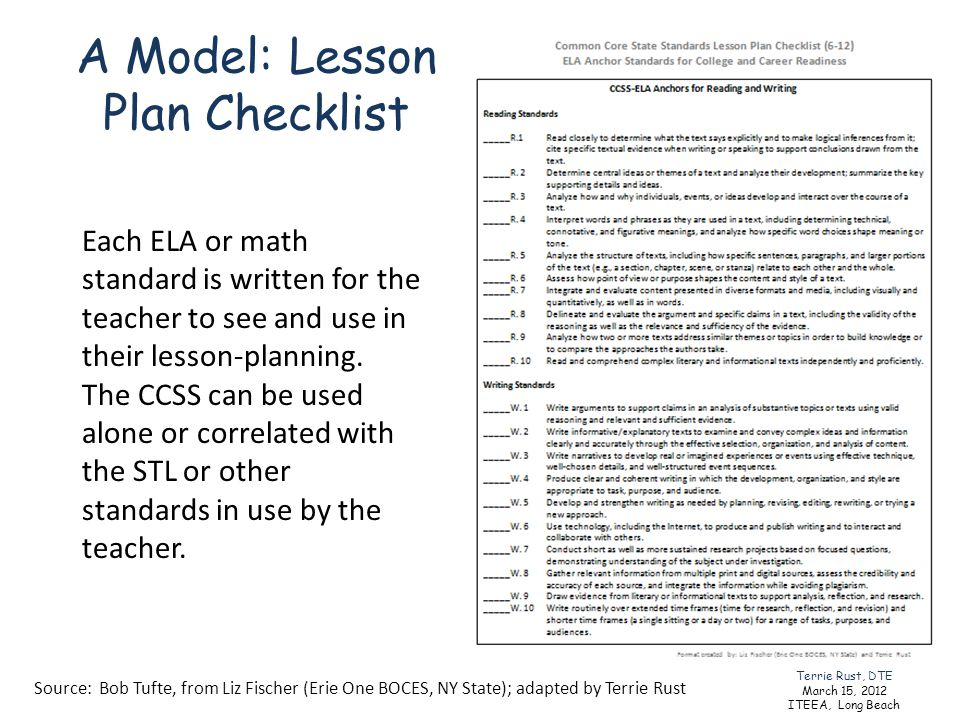 A Model: Lesson Plan Checklist Source: Bob Tufte, from Liz Fischer (Erie One BOCES, NY State); adapted by Terrie Rust Each ELA or math standard is wri