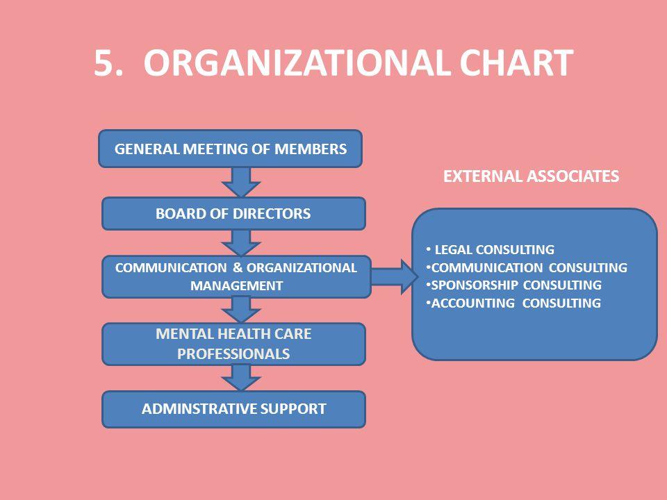5. ORGANIZATIONAL CHART EXTERNAL ASSOCIATES GENERAL MEETING OF MEMBERS BOARD OF DIRECTORS MENTAL HEALTH CARE PROFESSIONALS COMMUNICATION & ORGANIZATIO
