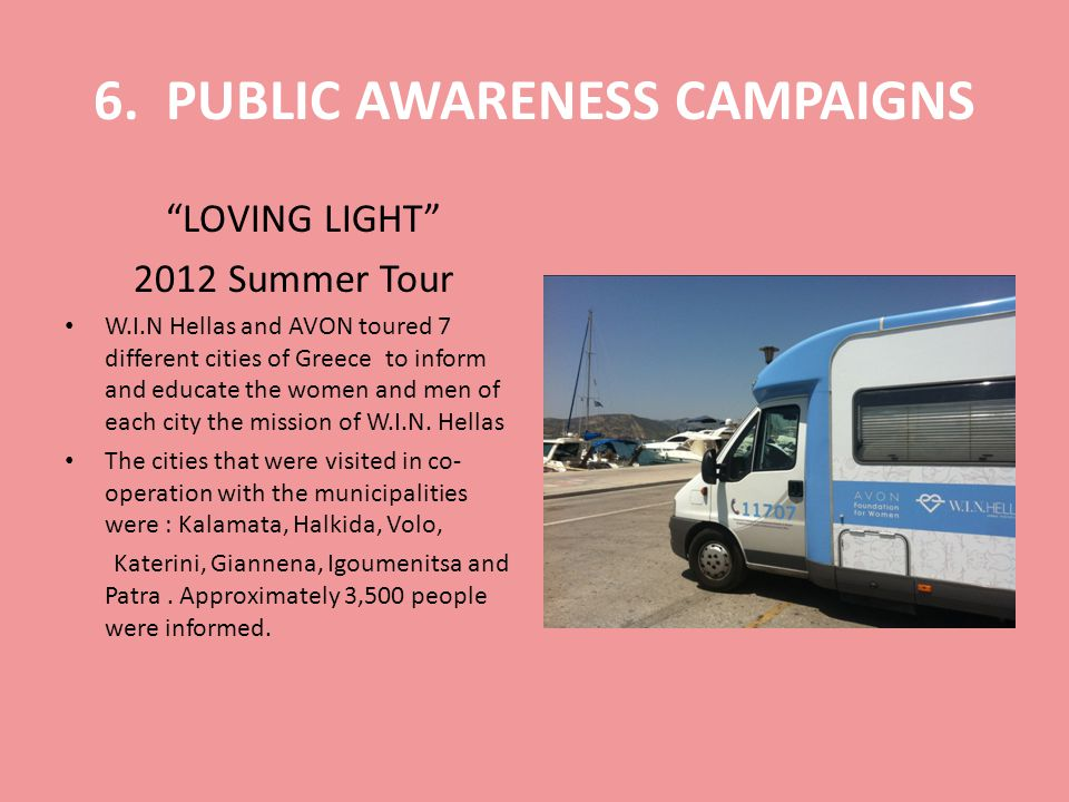 6. PUBLIC AWARENESS CAMPAIGNS LOVING LIGHT 2012 Summer Tour W.I.N Hellas and AVON toured 7 different cities of Greece to inform and educate the women