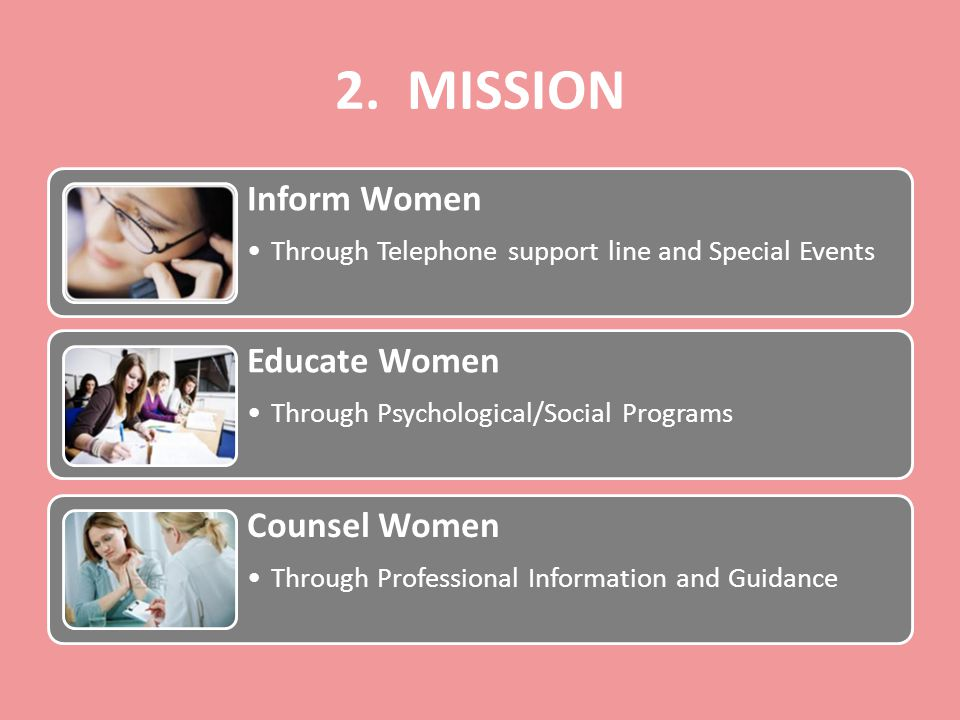 2. MISSION Inform Women Through Telephone support line and Special Events Educate Women Through Psychological/Social Programs Counsel Women Through Pr
