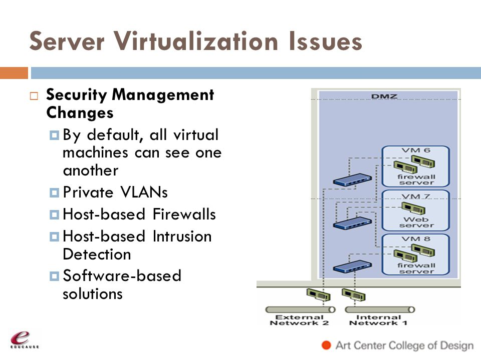 Server Virtualization Issues Security Management Changes By default, all virtual machines can see one another Private VLANs Host-based Firewalls Host-
