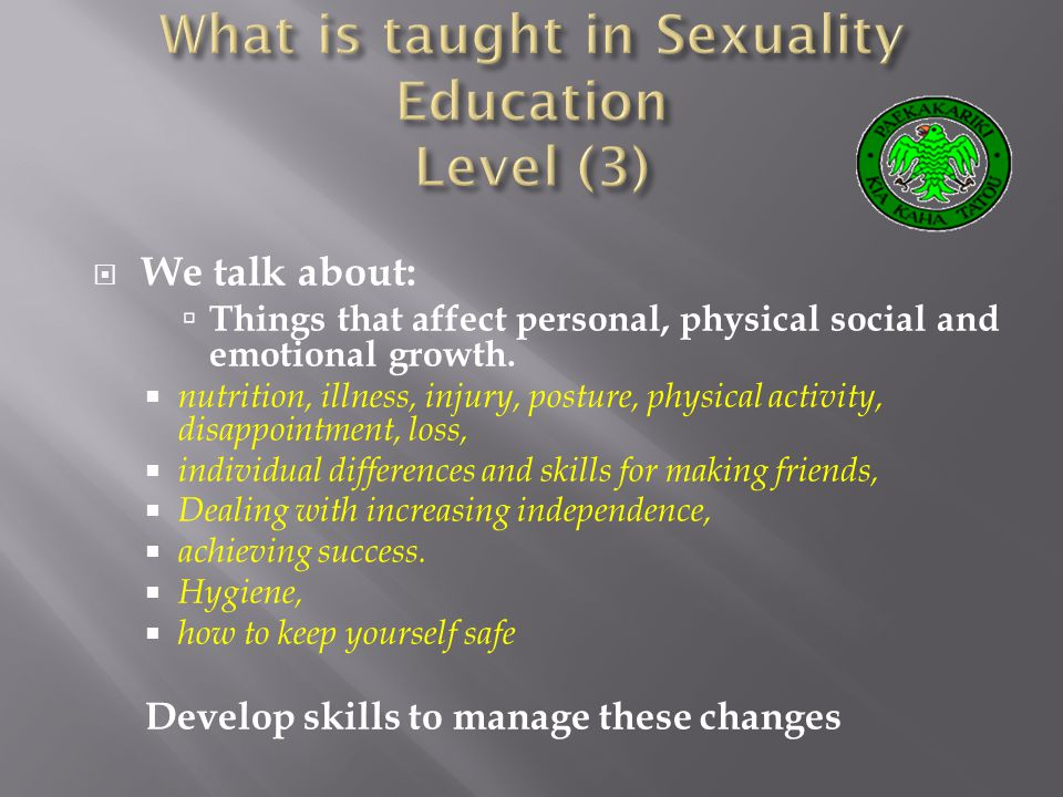 We talk about: Things that affect personal, physical social and emotional growth.