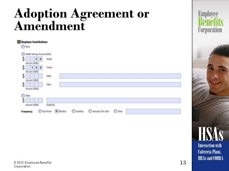 13 © 2012 Employee Benefits Corporation Adoption Agreement or Amendment