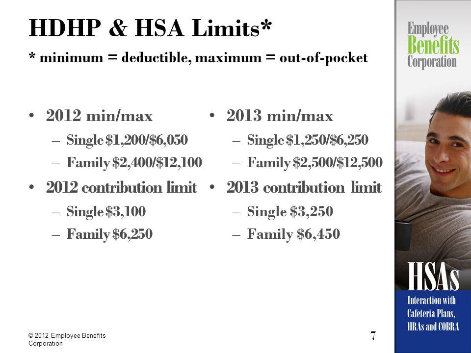7 © 2012 Employee Benefits Corporation HDHP & HSA Limits* * minimum = deductible, maximum = out-of-pocket 2012 min/max –Single $1,200/$6,050 –Family $