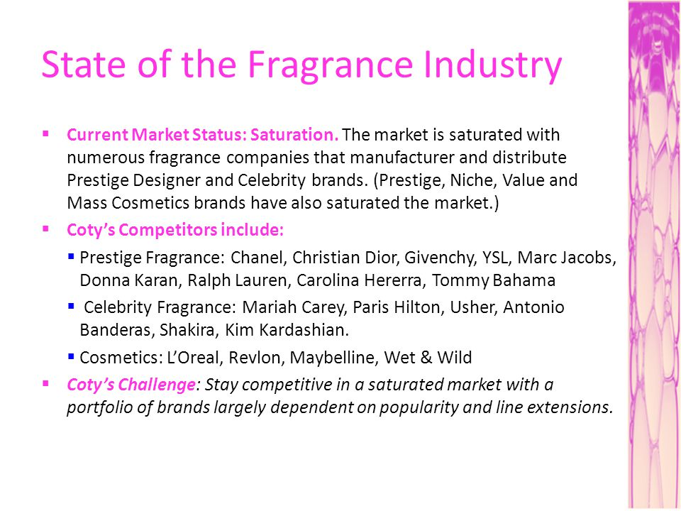 State of the Fragrance Industry Current Market Status: Saturation. The market is saturated with numerous fragrance companies that manufacturer and dis