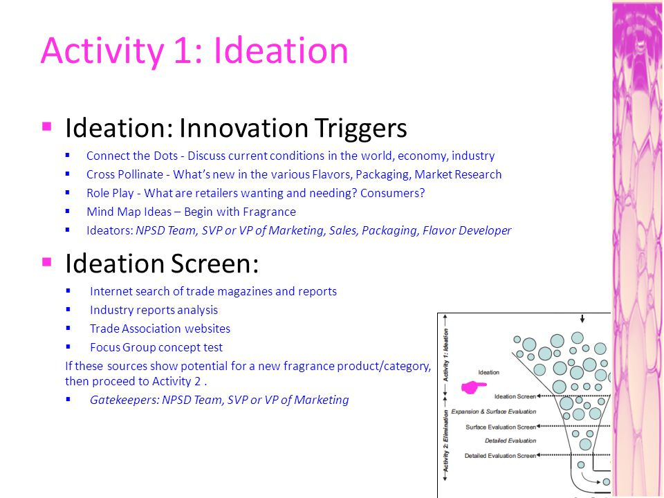 Activity 1: Ideation Ideation: Innovation Triggers Connect the Dots - Discuss current conditions in the world, economy, industry Cross Pollinate - Whats new in the various Flavors, Packaging, Market Research Role Play - What are retailers wanting and needing.