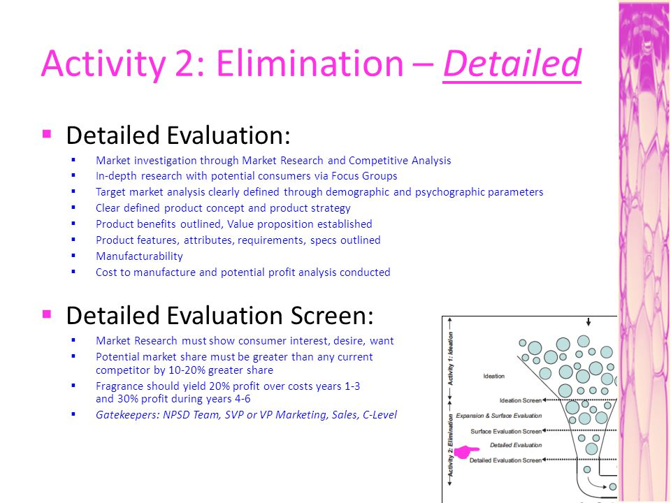 Activity 2: Elimination – Detailed Detailed Evaluation: Market investigation through Market Research and Competitive Analysis In-depth research with potential consumers via Focus Groups Target market analysis clearly defined through demographic and psychographic parameters Clear defined product concept and product strategy Product benefits outlined, Value proposition established Product features, attributes, requirements, specs outlined Manufacturability Cost to manufacture and potential profit analysis conducted Detailed Evaluation Screen: Market Research must show consumer interest, desire, want Potential market share must be greater than any current competitor by 10-20% greater share Fragrance should yield 20% profit over costs years 1-3 and 30% profit during years 4-6 Gatekeepers: NPSD Team, SVP or VP Marketing, Sales, C-Level