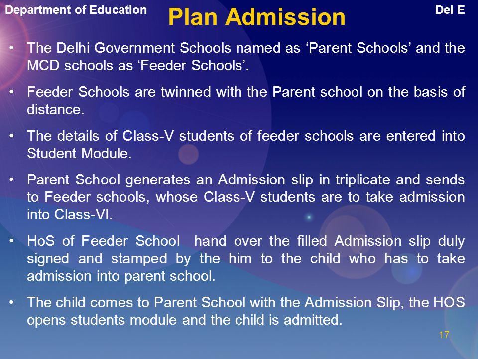 Department of EducationDel E 16 Two types of Admissions. 1.Plan Admission 2.Non-Plan Admission. Online Admissions