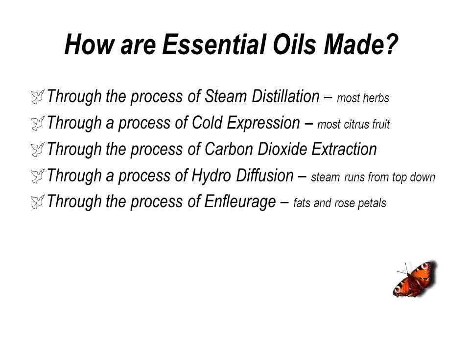 Steam Distillation Steam distillation – hot water is pushed up through the plant materials and the e/oils rise Creates a by-product called a hydrosol – well come back to this a little later